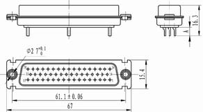 J18 Solder contact by float Connectors Product Outline Dimensions