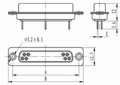 J18 connectors in-line for PCB Connectors Product Outline Dimensions