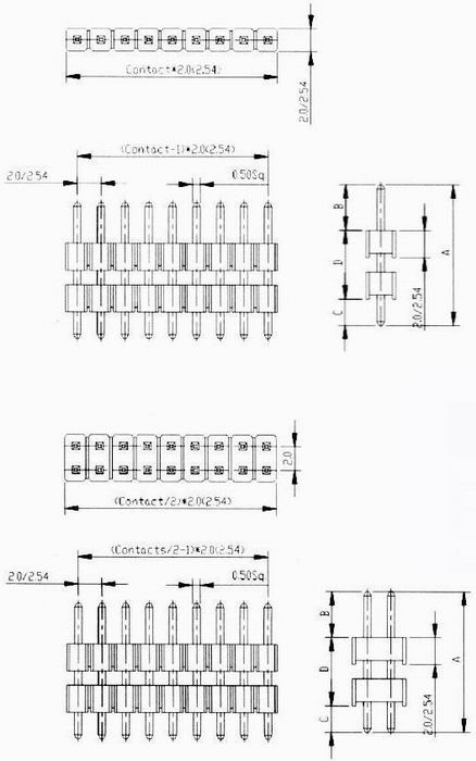 Male headers L/P dip type Connectors Product Outline Dimensions