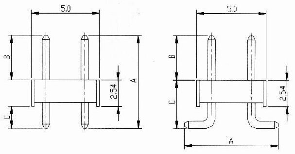 Male header dip straight type Connectors Product Outline Dimensions