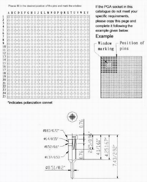 PGA socket-solder type-1 Connectors Product Outline Dimensions