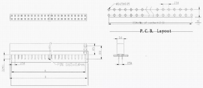 Female header dip type Connectors Product Outline Dimensions