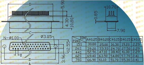 HDP62/78S  Connectors Product Outline Dimensions