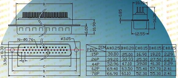 HDP62/78P  Connectors Product Outline Dimensions