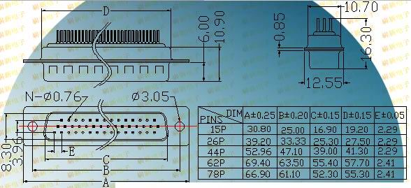 HDP-P board inserting type  Connectors Product Outline Dimensions