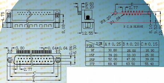DR male plug 7.2 series products  Connectors Product Outline Dimensions