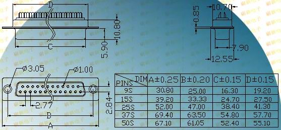 DB simple female socket  Connectors Product Outline Dimensions