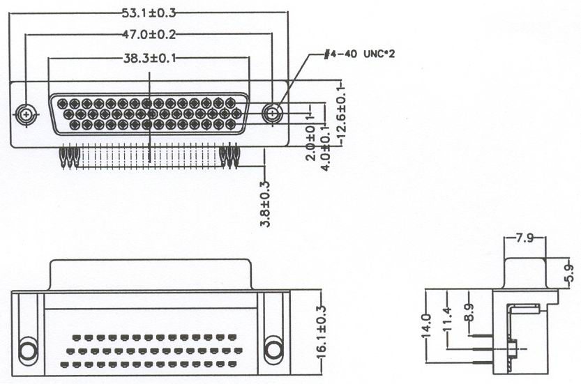 HDR44 Connectors Product Outline Dimensions