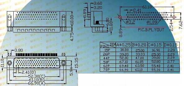 HDR-P8.89 series 78 PIN  Connectors Product Outline Dimensions