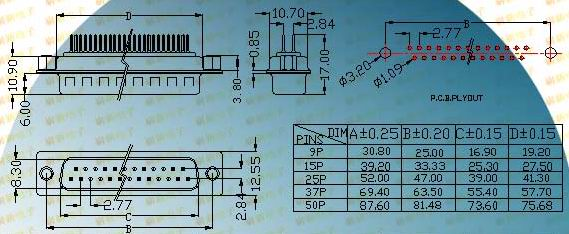 DP rear nut riveted male plug  Connectors Product Outline Dimensions