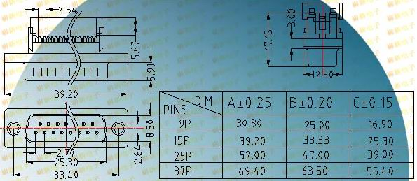 DIDC male plug  Connectors Product Outline Dimensions