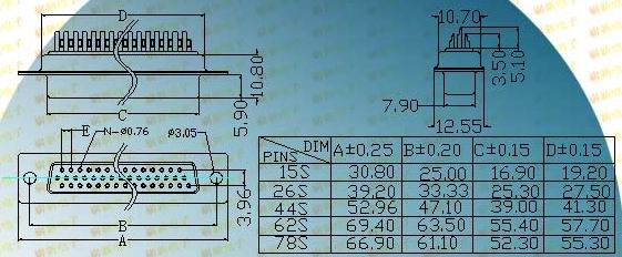 HDD-S welding wire  Connectors Product Outline Dimensions
