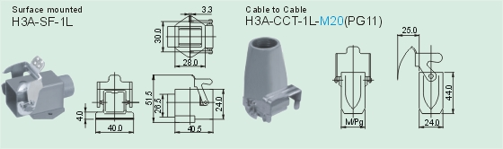 HA-004-M     HA-004-F Connectors Product Outline Dimensions