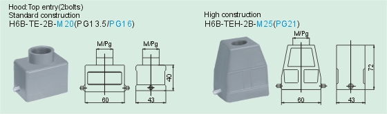 HE-006-M     HE-006-F Connectors Product Outline Dimensions