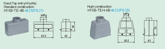 HE-016-M     HE-016-F Connectors Product Outline Dimensions