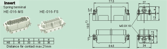 HE-016-MS     HE-016-FS Connectors Product Outline Dimensions