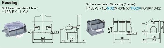 HE-048-M     HE-048-F Connectors Product Outline Dimensions