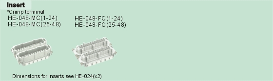 HE-048-MC     HE-048-FC Connectors Product Outline Dimensions