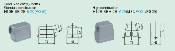 HEE-018-M     HEE-018-F Connectors Product Outline Dimensions