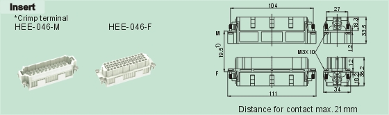 HEE-046-M     HEE-046-F Connectors Product Outline Dimensions