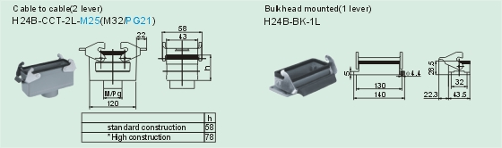 HD-064-M     HD-064-F Connectors Product Outline Dimensions