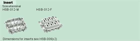 HSB-012-M     HSB-012-F Connectors Product Outline Dimensions