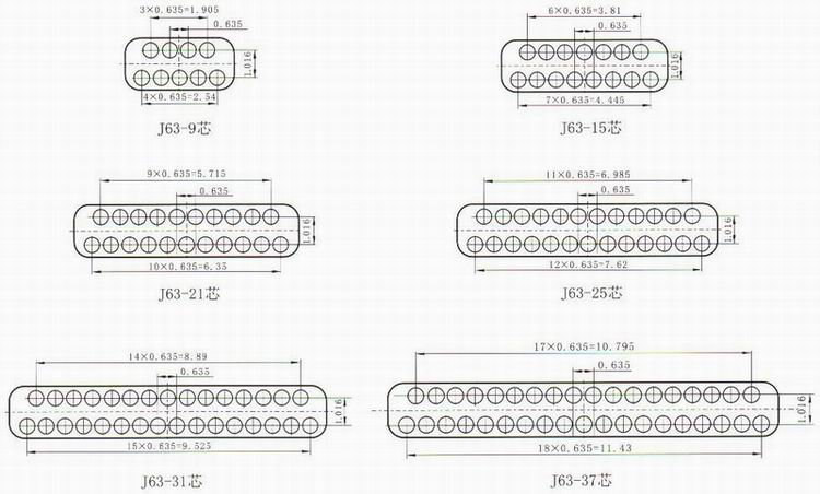 J63 series Connectors Contact Arrangements