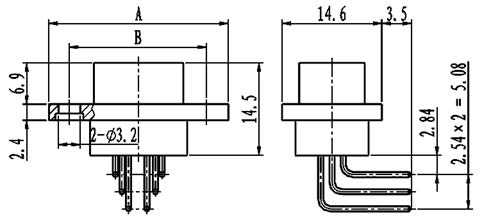J29A type W of common right angle contact for PCB Connectors Outline Dimensions of Receptacle