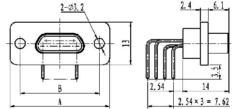 J29A type WI of common right angle contact for PCB Connectors Outline Dimensions of Plug
