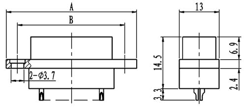 J29A type -A solder contact connectors Connectors Outline Dimensions of Receptacle