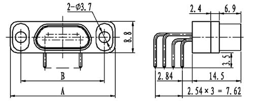 J29A type WI of type –A right angle contact for PCB Connectors Outline Dimensions of Receptacle