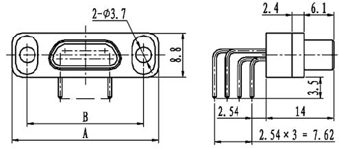 J29A type WI of type –A right angle contact for PCB Connectors Outline Dimensions of Plug