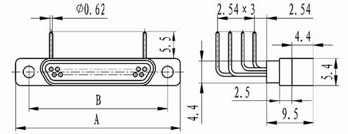 J30 right angle contact for PCB connectors Connectors Product Outline Dimensions
