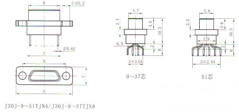 J30J in-line contact for PCB TJN4&TJN8 Connectors Outline Dimensions of Plug