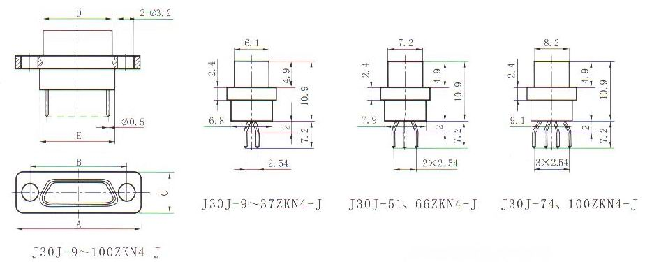 J30J in-line contact for PCB ZKN4-J  Connectors Receptacle
