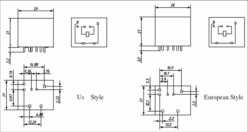 SLB-RELAY Relays Outline Mounting Dimensions