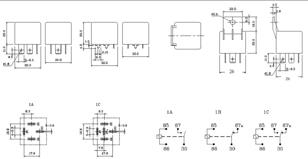SLDS-RELAY Relays Outline Mounting Dimensions