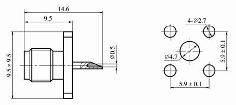 SSMA series Connectors Product Outline Dimensions
