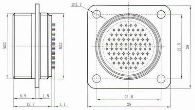 Y67 receptacle accessories Connectors Product Outline Dimensions