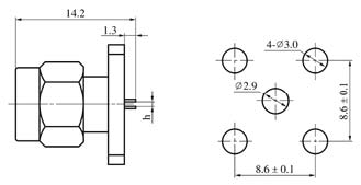 SMA series Connectors Product Outline Dimensions