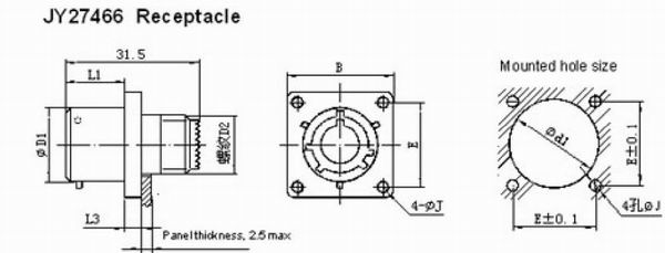 GJB599 series(MIL-C-38999)Ⅰcircular electrical connector Connectors Product Outline Dimensions