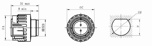GJB599 series (MIL-C-38999)Ⅲ circular electrical connector with compound material Connectors Product Outline Dimensions