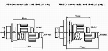 GJB599 series(MIL-C-38999) Ⅲ circular electrical connector Connectors Product Outline Dimensions