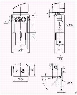 WKQ1 Front-Defog-Lamp Switch Assembly series Relays Product Outline Dimensions