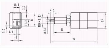 ZD2 Brake Lamp Switch series Relays Product Outline Dimensions