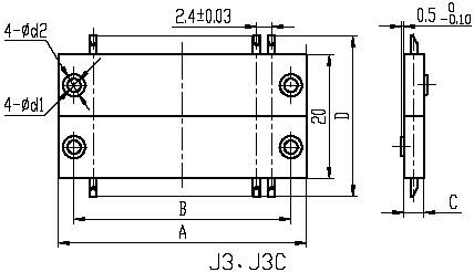 J3,J3A,J3B,J3C,J3D series Connectors Product Outline Dimensions