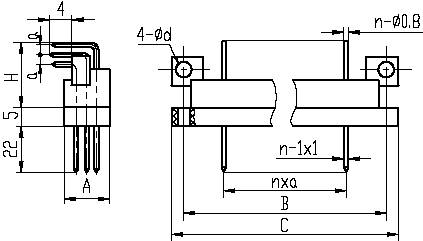 J28,J28A,J28C,J28D series Connectors Product Outline Dimensions