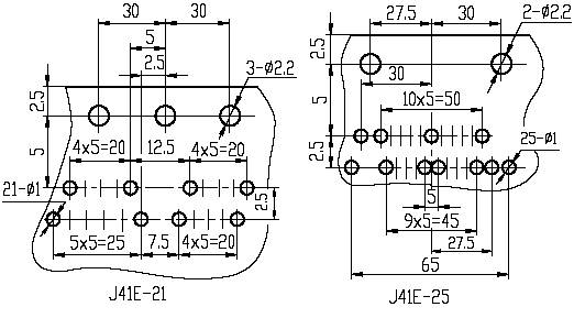 J41E series Connectors Product Outline Dimensions