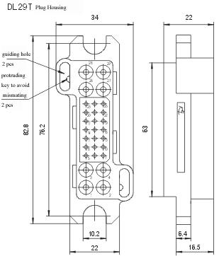 DL29Z/T series Connectors Product Outline Dimensions