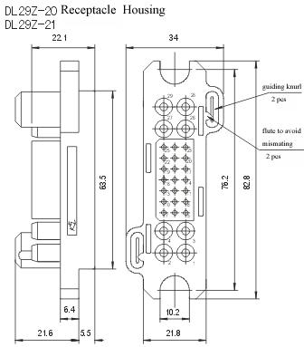 DL29Z-20/T-20&DL29Z-21/T-21  series Connectors Product Outline Dimensions